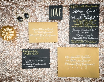 Custom Handwritten Calligraphy Wedding Invitation Suite - Envelope Addressing, Escort Cards, Reply Cards and More Available
