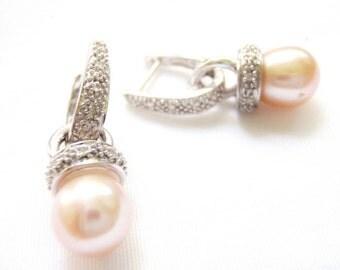 Pearl Earrings, Pink Pearls. Diamond Dangle Earrings, Pearl Pendant, 14k Gold, Bridal Pearls, Bride Wedding Jewelry