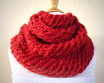 ITALIAN RED (Or Choose Color) infinity scarf / cowl -- wool blend, chunky, fashion accessories
