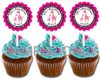30 ct animal print pink giraffe safari theme cupcake toppers personalized baby shower favors decoration