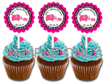 30 ct Animal print pink elephant safari theme cupcake toppers personalized baby shower favors decoration