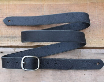 Skinny Leather Guitar Strap, Black, Made In USA, Electric, Acoustic, Bass, Dobro, Banjo, Custom, Handmade, Gift, Country, Rock N Roll