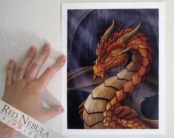 8.5x11 Dragon Fantasy Art Print, Bronze Dragon Portrait, Dragon Illustration, Fantasy Artwork, Dragon Wall Art, Orange Dragon Art Print