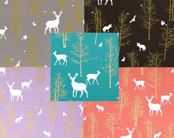 Deer Baby Bedding Crib Bedding -  Metallic Gold, Teal, Coral, Lilac, Gray, and Brown
