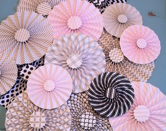 "Set of 15 Large 12"" / 9"" / 6"" Paper Rosettes/Fans - Light Pink, Gold, Black and White"