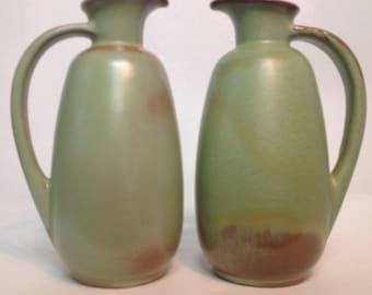 Frankoma Pottery Prairie Green Pitcher Pair