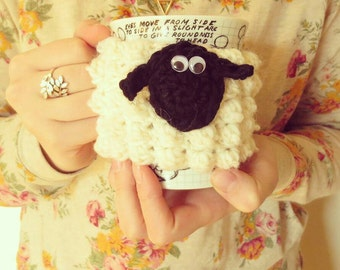 SHEEP MUG COZY   crochet   100% wool   tea   coffee   cup cozy   fun