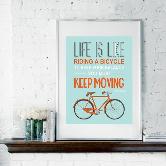 Printable Art, bike poster, leaving gift, Einstein quote, inspirational quote, quote art, bike print, Life is Like Riding A Bicycle