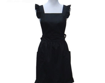 Beautiful Handmade full apron dress  for kitchen cooking black fashion Accessories