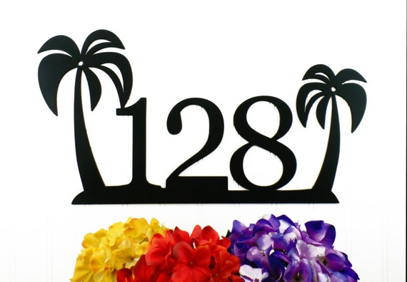 Tropical Palm Tree House Number Metal Sign By