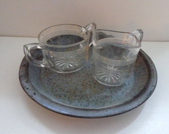 Americana Glass Creamer & Sugar with  Pie Pan, Country Kitchen Creamer and Sugar Vintage Pie Pan