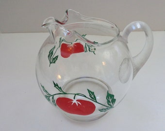 Vintage Hand Blown Glass Jug Pitcher, Tomato Design 1940's Pitcher