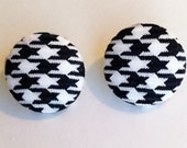 Black and White Houndstooth Fabric Button Earrings