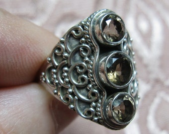 Faceted Smokey Quartz Sterling Ring Size 8 1/2