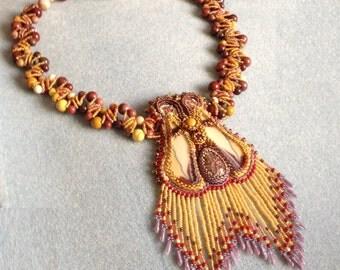 OOAK Mookaite Beaded Butterfly Necklace