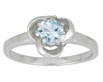 0.50 Ct Natural Aquamarine & Diamond Heart Ring .925 Sterling Silver Rhodium Finish