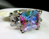 Silver Tone Aurora Borealis Crystal Ring, Large Crystal Stone, Pinkie Cocktail Ring