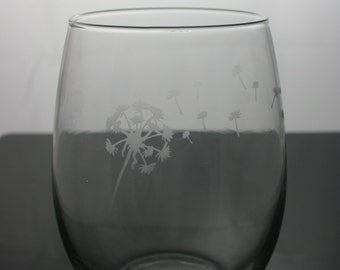 dandelion etched glasses, etched wine glasses, customized wine glasses, stemless wine glass