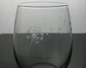 dandelion etched glasses, etched wine glasses, customized wine glasses, stemless wine glass