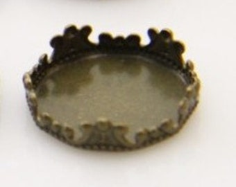12 pcs of crown edge setting for 15mm cameo-7535--antique bronze