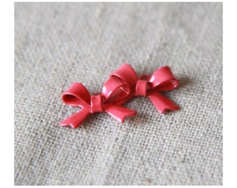 12  pcs of Bow charm Two loop connector-15x12x5mm-MP1106 red