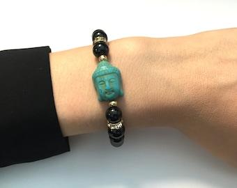 Turquoise Buddha Black Beaded Rhinestone Bracelet