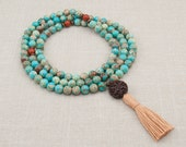 Mala Bead Necklace - Meditation Beads in Turquoise Magnesite and Red Jasper - Positive Attitude - Unconditional Love - Grounding - Item #960