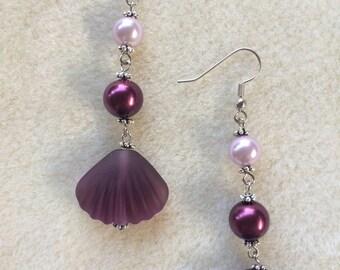 Purple sea glass earrings