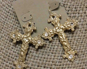 Gold cross earrings with crystal