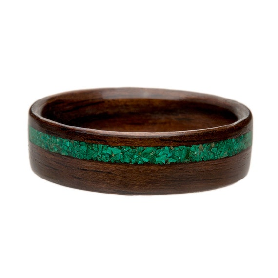 Wooden Ring -English Oak with Malachite Inlay Bentwood Wooden Ring