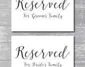"""INSTANT DOWNLOAD - Reserved for Family Signs 5x7"""" DIY Wedding Posters Printable... Black"""