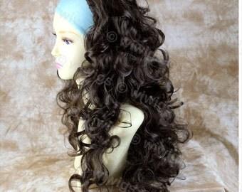 Dark Coffee Brown 3 Quarter Fall Hairpiece Long Curly Layered Half Wig Hair Piece.