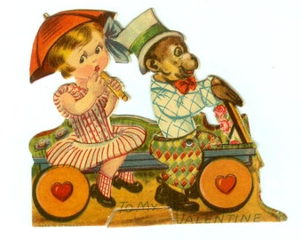 Vintage Die-Cut Mechanical Valentine's Day Card Girl & Monkey Circus Style Made In Germany 1930s