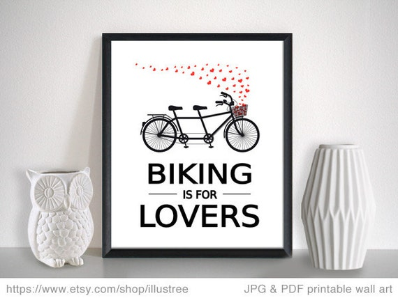 Wedding Gifts For Art Lovers : Biking is for lovers, digital art print, unique wedding gift, gift for ...