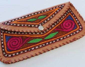 Embroidered leather wallet/clutch {INDIA}