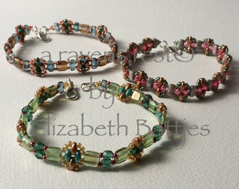 B140902 - Sweet Sophistication. A set of three bracelets in soft autumn pastels.