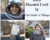 Kitty Hooded Cowl - Hooded Cowl -Hat Scarf -Cowl -Kitty Hat- Cat Hat- Animal Hat-Child Kitty Hooded Cowl - Adult Kitty Hooded Cowl- Crochet