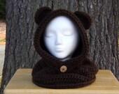 Bear Hooded Cowl - Hooded Cowl - Bear Hat - Cowl - Hat Scarf -Child Bear Hooded Cowl- Adult Bear Hooded Cowl- Hats- Animal Hat- Crochet hats