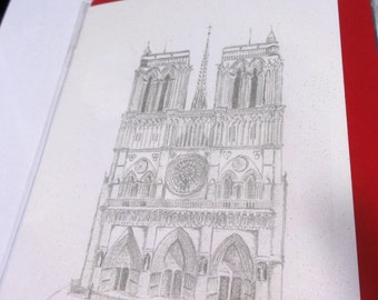Cathedral de Notre Dame paris france french greeting birthday card drawing illustration