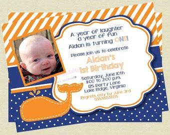 Boy Whale Birthday Photo Invitation/Picture Birthday Invite/Navy and Orange Whale Invite/Birthday Invite/Nautical Invite/DIY Printable File