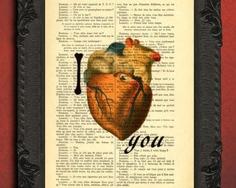 i love you art print heart and bones love you print valentines day gift