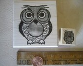2 Hoot Owls Bird cute Rubber stamps wood mounted  rubber stamping 2 1/4 inch & one inch