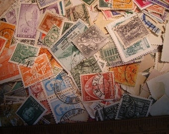300+ foreign postage stamps FREE shipping to USA addresses  USED Canceled stamps  collage, scrapbooking, Journals Worldwide Stamps off Paper