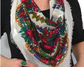 Large Floral Print White Hipster Scarf // Floral Print Scarf // Vintage White Scarf // Boho Scarf // Pink Floral Print // I13