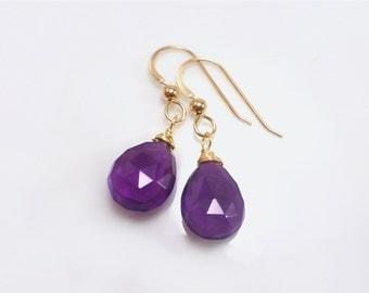Amethyst Earrings - Purple Amethyst Earrings - Purple Teardrop Earrings - Gemstone Earrings - Gold Silver Purple Earrings - Gift Earrings