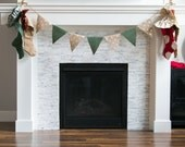 Burlap Christmas Banner- Natural with Silver Polka Dots and Green