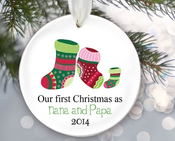 Nana And Papa Grandparents Ornament Our First Christmas As