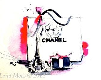 Fashion Illustration from Original Watercolor - Parisian Love Painting - Glamour Home Decor - Lana Moes Art