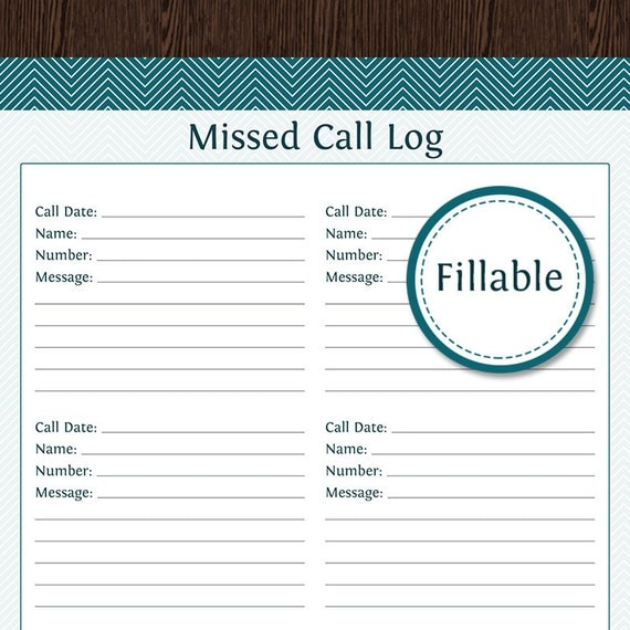 call register template - missed call log fillable pdf printable household organizer