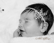 Rhinestone Snow Flake Headband / Newborn Baby Girl Headband